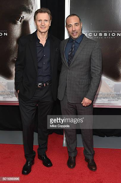 Actor Liam Neeson and director Peter Landesman attend the 'Concussion' New York Premiere at AMC Loews Lincoln Square on December 16 2015 in New York...