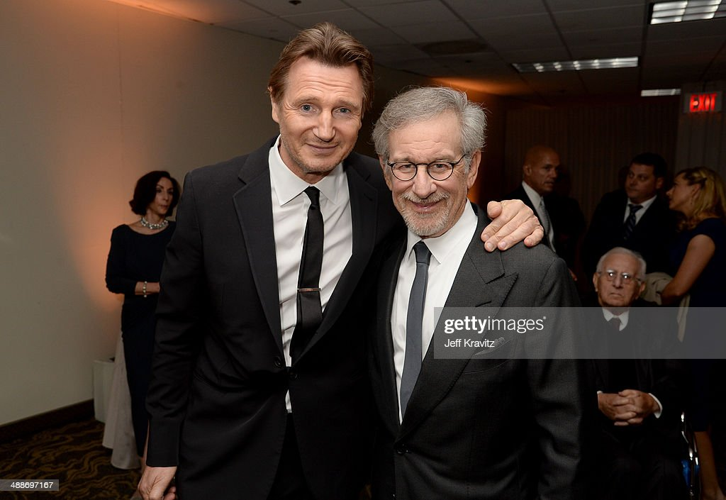 Actor <a gi-track='captionPersonalityLinkClicked' href=/galleries/search?phrase=Liam+Neeson&family=editorial&specificpeople=202030 ng-click='$event.stopPropagation()'>Liam Neeson</a> (L) and USC Shoah Foundation Honorary Chair <a gi-track='captionPersonalityLinkClicked' href=/galleries/search?phrase=Steven+Spielberg&family=editorial&specificpeople=202022 ng-click='$event.stopPropagation()'>Steven Spielberg</a> attend USC Shoah Foundation's 20th Anniversary Gala at the Hyatt Regency Century Plaza on May 7, 2014 in Century City, California.