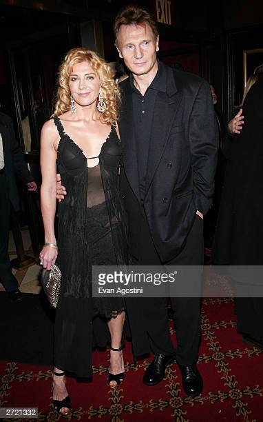Actor Liam Neeson and wife Natasha Richardson attend the World Premiere of 'Love Actually' at the Ziegfeld Theatre November 06 2003 in New York City