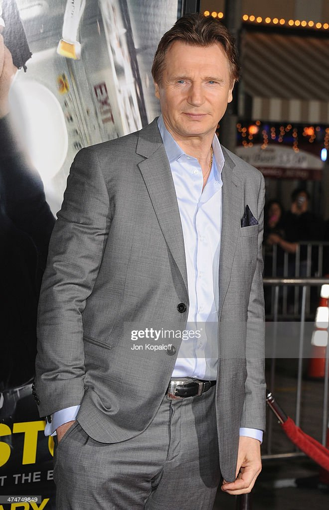 Actor <a gi-track='captionPersonalityLinkClicked' href=/galleries/search?phrase=Liam+Neeson&family=editorial&specificpeople=202030 ng-click='$event.stopPropagation()'>Liam Neeson</a> arrives at the Los Angeles Premiere 'Non-Stop' at Regency Village Theatre on February 24, 2014 in Westwood, California.