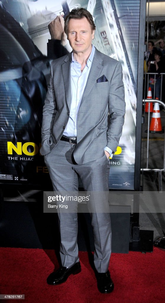Actor <a gi-track='captionPersonalityLinkClicked' href=/galleries/search?phrase=Liam+Neeson&family=editorial&specificpeople=202030 ng-click='$event.stopPropagation()'>Liam Neeson</a> arrives at the Los Angeles Premiere 'Non-Stop' on February 24, 2014 at Regency Village Theatre in Westwood, California.