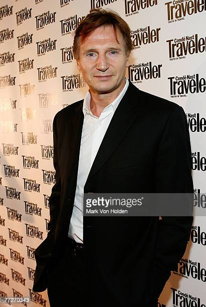 Actor Liam Neeson arrives during the Conde Nast Traveler celebration of 20 Years of Truth in Travel at Cooper Hewitt National Design Museum on...