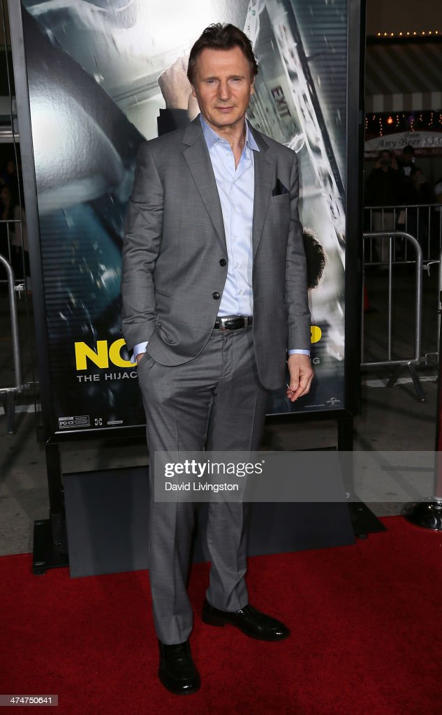 Actor <a gi-track='captionPersonalityLinkClicked' href=/galleries/search?phrase=Liam+Neeson&family=editorial&specificpeople=202030 ng-click='$event.stopPropagation()'>Liam Neeson</a> attends the premiere of Universal Pictures and Studiocanal's 'Non-Stop' at the Regency Village Theatre on February 24, 2014 in Westwood, California.