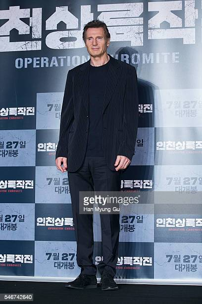 Actor Liam Neeson attends the press conference for 'Operation Chromite' on July 13 2016 in Seoul South Korea The film will open on July 27 in South...