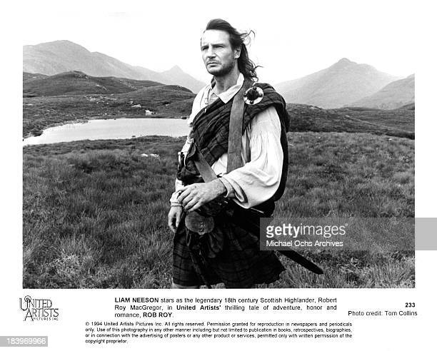 Actor Liam Neeson on the set of United Artists movie 'Rob Roy' in 1995