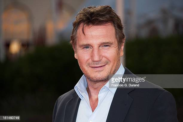 US actor Liam Neeson poses on the red carpet before the screening of his movie 'Taken 2' during the 38th Deauville American Film Festival on...