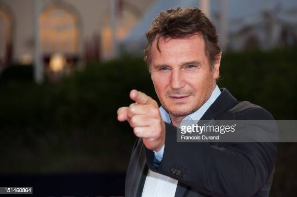 Actor Liam Neeson poses on the red carpet before the screening of his movie 'Taken 2' during the 38th Deauville American Film Festival on September 7...