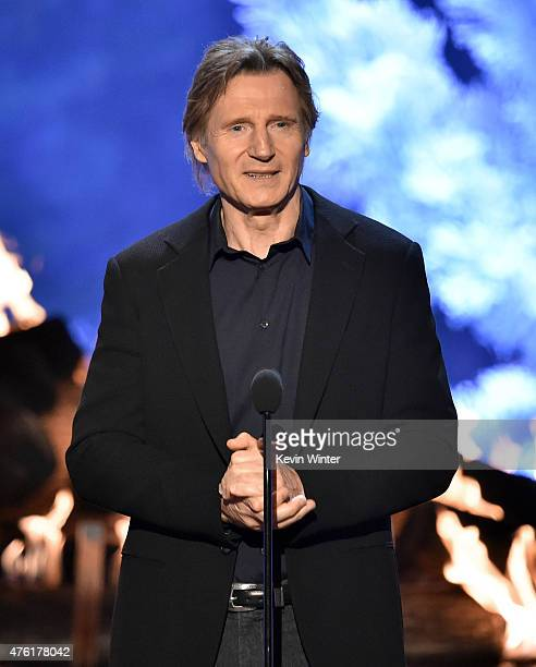 Actor Liam Neeson speaks onstage during Spike TV's Guys Choice 2015 at Sony Pictures Studios on June 6 2015 in Culver City California