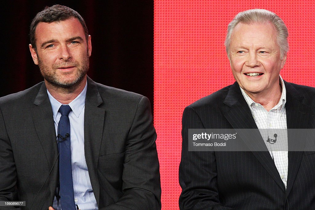 Actor <a gi-track='captionPersonalityLinkClicked' href=/galleries/search?phrase=Liev+Schreiber&family=editorial&specificpeople=203259 ng-click='$event.stopPropagation()'>Liev Schreiber</a> (L) and actor <a gi-track='captionPersonalityLinkClicked' href=/galleries/search?phrase=Jon+Voight&family=editorial&specificpeople=202872 ng-click='$event.stopPropagation()'>Jon Voight</a> of the TV show 'Ray Donovan' attend the 2013 TCA Winter Press Tour CW/CBS panel held at The Langham Huntington Hotel and Spa on January 12, 2013 in Pasadena, California.