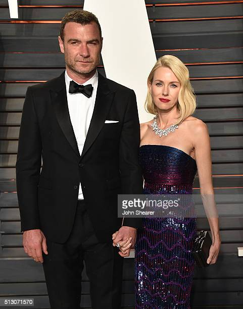 Actor Liev Schreiber and actress Naomi Watts arrives at the 2016 Vanity Fair Oscar Party Hosted By Graydon Carter at Wallis Annenberg Center for the...