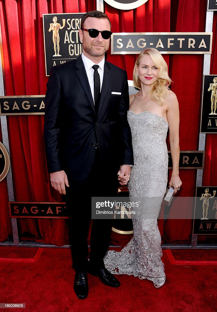Actor Liev Shreiber and actress Naomi Watts attend the 19th Annual Screen Actors Guild Awards at The Shrine Auditorium on January 27, 2013 in Los Angeles, California. (Photo by Dimitrios Kambouris/WireImage) 23116_013_0743.jpg