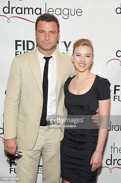 Actor Liev Schreiber and actress Scarlett Johansson attend the 76th Annual Drama League Awards ceremony and luncheon at the Marriot Marquis on May 21...