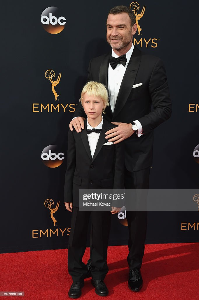 Actor Liev Schreiber (R) and Alexander Schreiber attend 68th Annual Primetime Emmy Awards at Microsoft Theater on September 18, 2016 in Los Angeles, California.