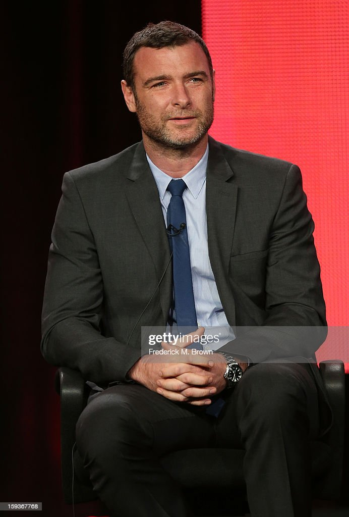 Actor <a gi-track='captionPersonalityLinkClicked' href=/galleries/search?phrase=Liev+Schreiber&family=editorial&specificpeople=203259 ng-click='$event.stopPropagation()'>Liev Schreiber</a> of 'Ray Donovan' speaks onstage during the Showtime portion of the 2013 Winter TCA Tour at Langham Hotel on January 12, 2013 in Pasadena, California.