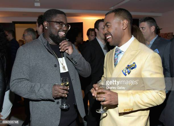 Actor Lil Rel Howery and Creator/Host Prentice Penny at truTV's 'Upscale with Prentice Penny' Premiere at The London Hotel on March 21 2017 in West...