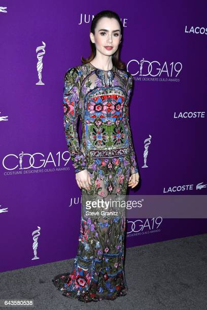Actor Lily Collins attends The 19th CDGA with Presenting Sponsor LACOSTE at The Beverly Hilton Hotel on February 21 2017 in Beverly Hills California