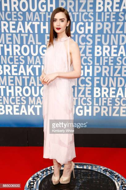 Actor Lily Collins attends the 2018 Breakthrough Prize at NASA Ames Research Center on December 3 2017 in Mountain View California