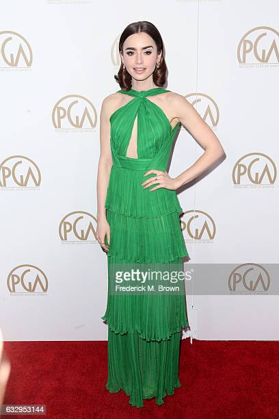 Actor Lily Collins attends the 28th Annual Producers Guild Awards at The Beverly Hilton Hotel on January 28 2017 in Beverly Hills California