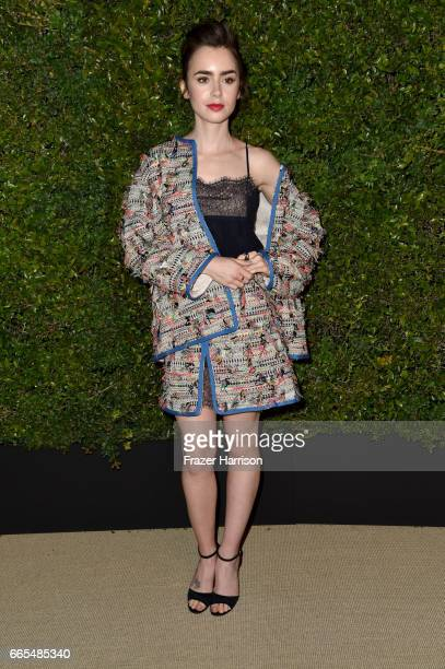 Actor Lily Collins attends the celebration of Chanel's Gabrielle Bag hosted by Caroline De Maigret and Pharrell Williams at Giorgio Baldi on April 6...