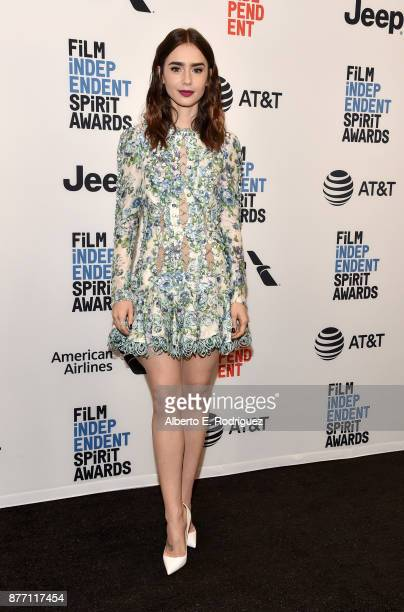 Actor Lily Collins attends the Film Independent 2018 Spirit Awards press conference at The Jeremy Hotel on November 21 2017 in West Hollywood...