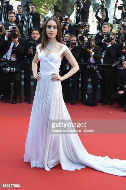 Actor Lily Collins attends the 'Okja' premiere during the 70th annual Cannes Film Festival at Palais des Festivals on May 19 2017 in Cannes France