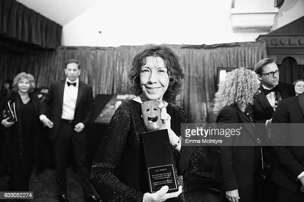 Image has been converted to black and white Actor Lily Tomlin SAG Lifetime Achievement Award recipient attends The 23rd Annual Screen Actors Guild...