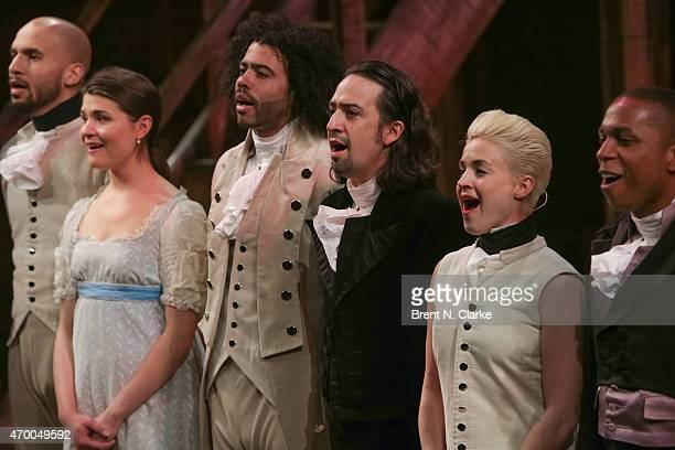 Actor LinManuel Miranda and cast members from the musical 'Hamilton' appear on stage during the 40th Anniversary of 'A Chorus Line' held at The...