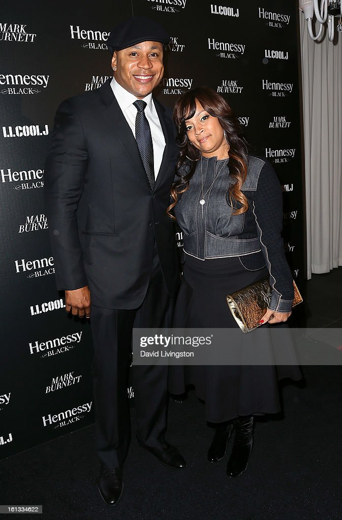 Actor LL Cool J (L) and wife jewelry designer Simone Smith attend the Hennessy Toasts Achievements In Music event with GRAMMY Host LL Cool J and Mark Burnett at The Bazaar at the SLS Hotel Beverly Hills on February 9, 2013 in Los Angeles, California.