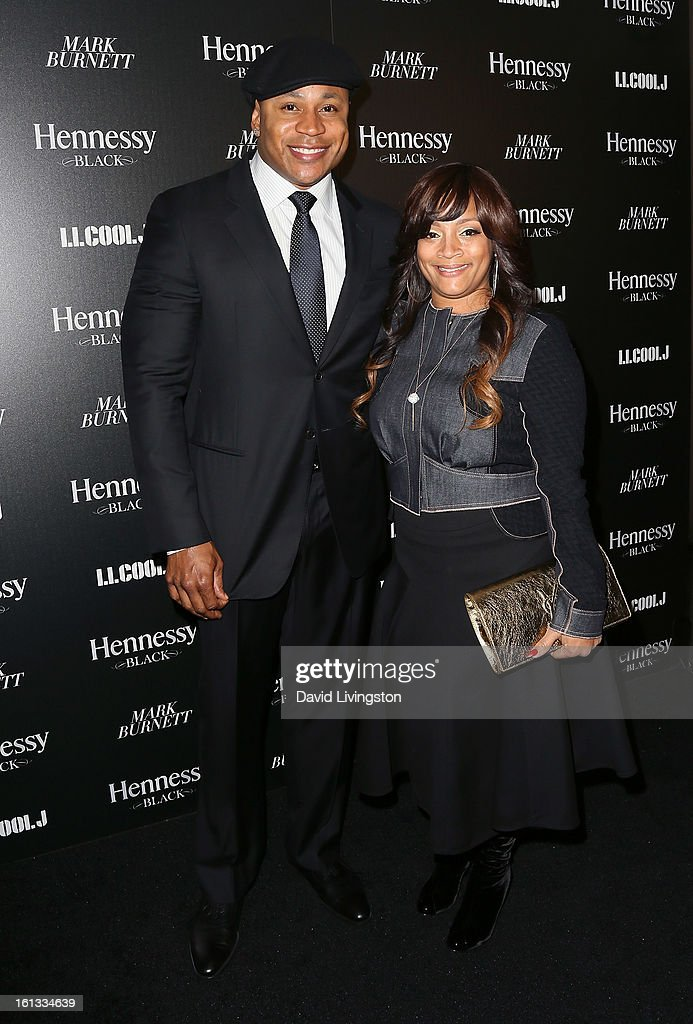 Actor <a gi-track='captionPersonalityLinkClicked' href=/galleries/search?phrase=LL+Cool+J&family=editorial&specificpeople=201567 ng-click='$event.stopPropagation()'>LL Cool J</a> (L) and wife jewelry designer Simone Smith attend the Hennessy Toasts Achievements In Music event with GRAMMY Host <a gi-track='captionPersonalityLinkClicked' href=/galleries/search?phrase=LL+Cool+J&family=editorial&specificpeople=201567 ng-click='$event.stopPropagation()'>LL Cool J</a> and Mark Burnett at The Bazaar at the SLS Hotel Beverly Hills on February 9, 2013 in Los Angeles, California.