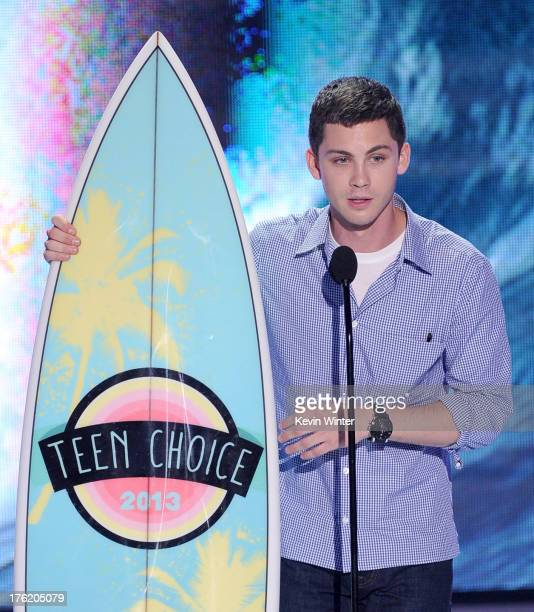 Actor Logan Lerman accepts Choice Movie Actor Drama award for 'The Perks of Being a Wallflower' onstage during the Teen Choice Awards 2013 at Gibson...