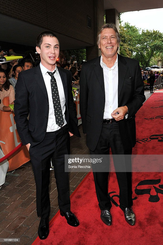 Actor <a gi-track='captionPersonalityLinkClicked' href=/galleries/search?phrase=Logan+Lerman&family=editorial&specificpeople=635439 ng-click='$event.stopPropagation()'>Logan Lerman</a> (L) and producer Russell Smith attend 'The Perks Of Being A Wallflower' premiere during the 2012 Toronto International Film Festival at Ryerson Theatre on September 8, 2012 in Toronto, Canada.
