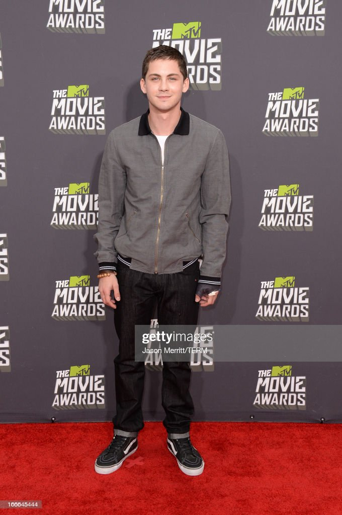 Actor <a gi-track='captionPersonalityLinkClicked' href=/galleries/search?phrase=Logan+Lerman&family=editorial&specificpeople=635439 ng-click='$event.stopPropagation()'>Logan Lerman</a> arrives at the 2013 MTV Movie Awards at Sony Pictures Studios on April 14, 2013 in Culver City, California.