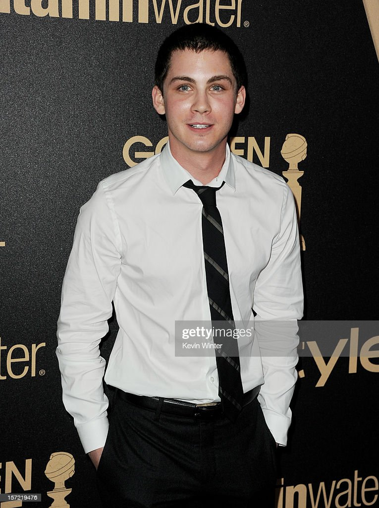 Actor <a gi-track='captionPersonalityLinkClicked' href=/galleries/search?phrase=Logan+Lerman&family=editorial&specificpeople=635439 ng-click='$event.stopPropagation()'>Logan Lerman</a> arrives at the Hollywood Foreign Press Association's and In Style's celebration of the 2013 Golden Globes Awards Season at Cecconi's on November 29, 2012 in West Hollywood, California.