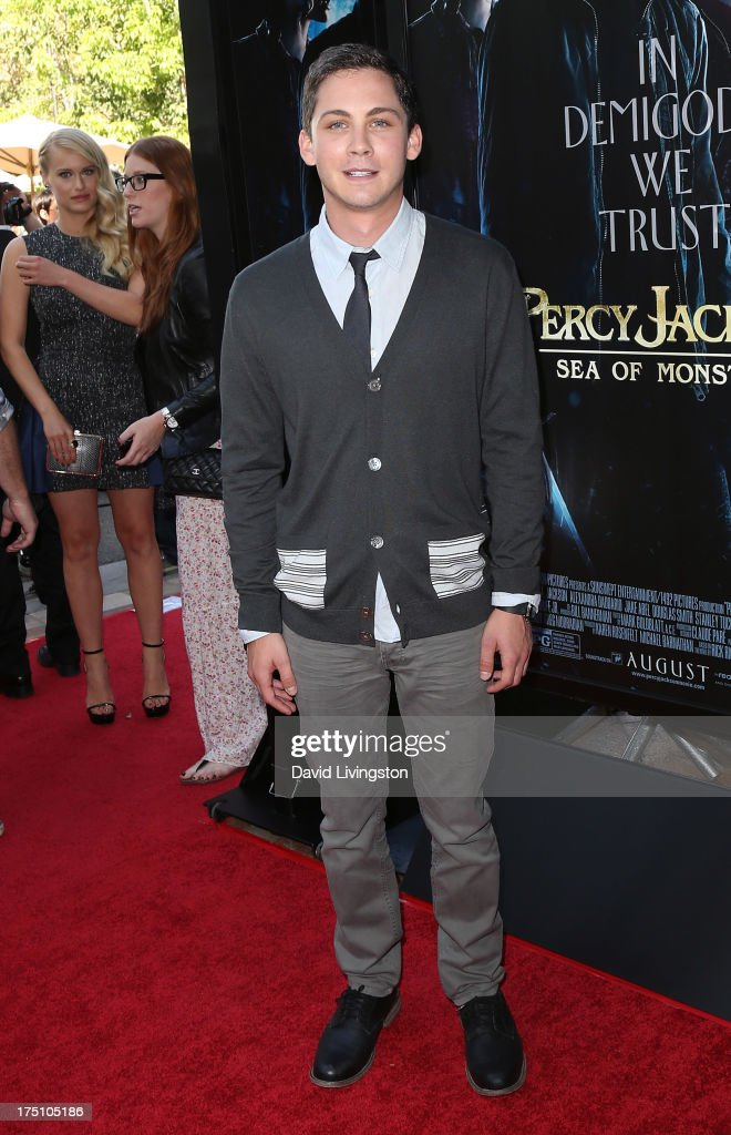 Actor <a gi-track='captionPersonalityLinkClicked' href=/galleries/search?phrase=Logan+Lerman&family=editorial&specificpeople=635439 ng-click='$event.stopPropagation()'>Logan Lerman</a> attends a screening of Twentieth Century Fox and Fox 2000's 'Percy Jackson: Sea of Monsters' at The Americana at Brand on July 31, 2013 in Glendale, California.
