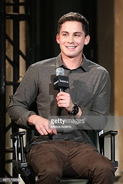 Actor Logan Lerman attends AOL's BUILD Series Presents Actors Logan Lerman And Jon Bernthal With Director David Aye 'Fury' at AOL Studios In New York...
