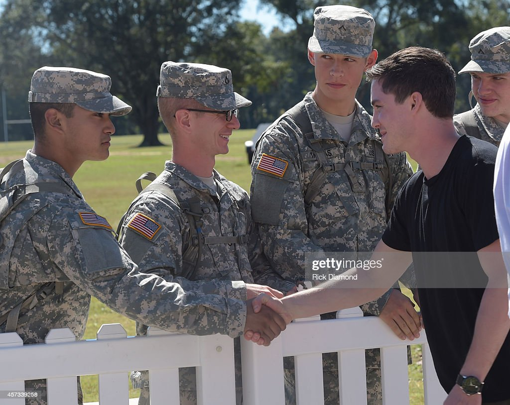 Actor Logan Lerman attends 'Fury' Fort Benning Special Screening on October 16 2014 in Columbus Georgia