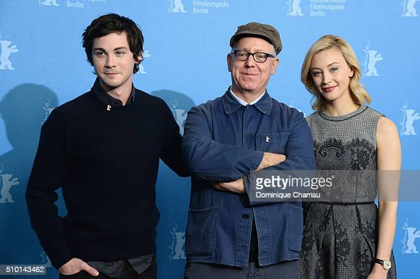 Actor Logan Lerman director James Schamus and actress Sarah Gadon attend the 'Indignation' photo call during the 66th Berlinale International Film...