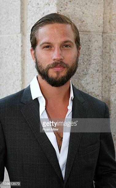 Actor Logan MarshallGreen poses during the arrivals for the opening night performance of 'Poor Behavior' at Center Theatre Group's Mark Taper Forum...