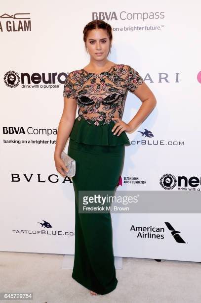 Actor Lorenza Izzo attends the 25th Annual Elton John AIDS Foundation's Academy Awards Viewing Party at The City of West Hollywood Park on February...