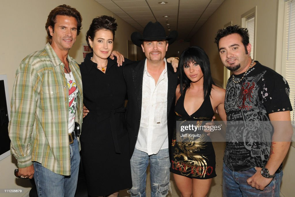 Actor Lorenzo Lamas, actress Sean Young, host John Rich, singer Mikalah Gordon and singer Chris Kirkpatrick during the 2008 Summer Television Critics Association Press Tour for MTVN held at the Beverly Hilton hotel on July 9, 2008 in Beverly Hills, California.