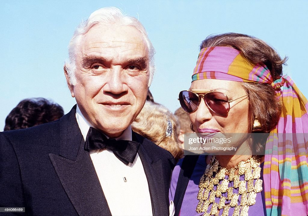 Actor Lorne Greene with his wife actress Nancy Deale attend the 35th Annual Primetime Emmy Awards held at the Pasadena Civic Auditorium on September 25, 1983 in Pasadena, California.