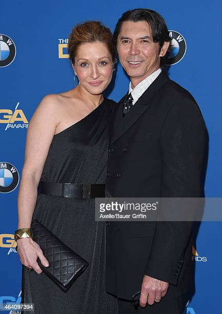 Actor Lou Diamond Phillips and Lisa McCune attend the 67th Annual Directors Guild of America Awards at the Hyatt Regency Century Plaza on February 7...