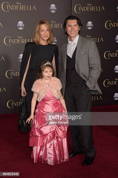 Actor Lou Diamond Phillips and Lisa McCune attend the premiere of Disney's 'Cinderella' at the El Capitan Theatre on March 1 2015 in Hollywood...