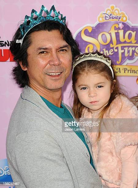 Actor Lou Diamond Phillips daughter Indigo Sanara Phillips and wife Yvonne Marie Boismier attend the premiere of 'Sofia The First Once Upon a...