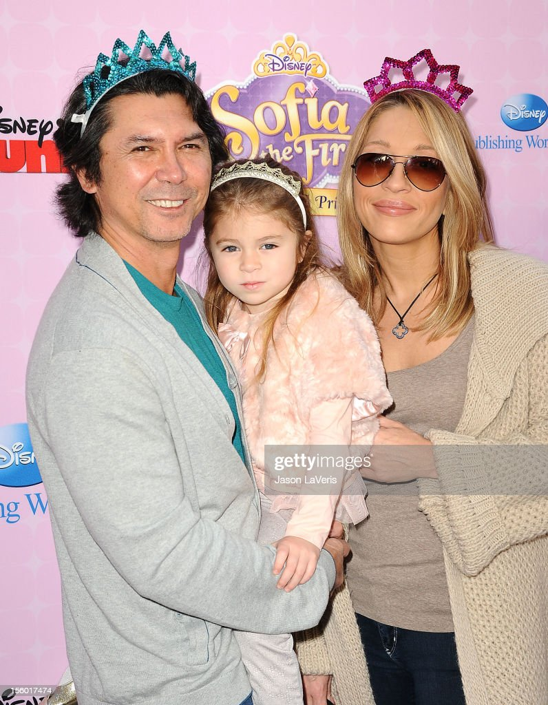 Actor Lou Diamond Phillips, daughter Indigo Sanara Phillips and wife Yvonne Marie Boismier attend the premiere of 'Sofia The First: Once Upon a Princess' at Walt Disney Studios on November 10, 2012 in Burbank, California.