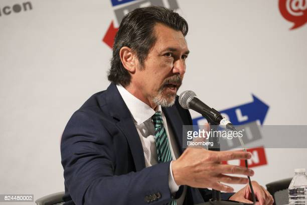 Actor Lou Diamond Phillips speaks during the Politicon convention inside the Pasadena Convention Center in Pasadena California US on Saturday July 29...