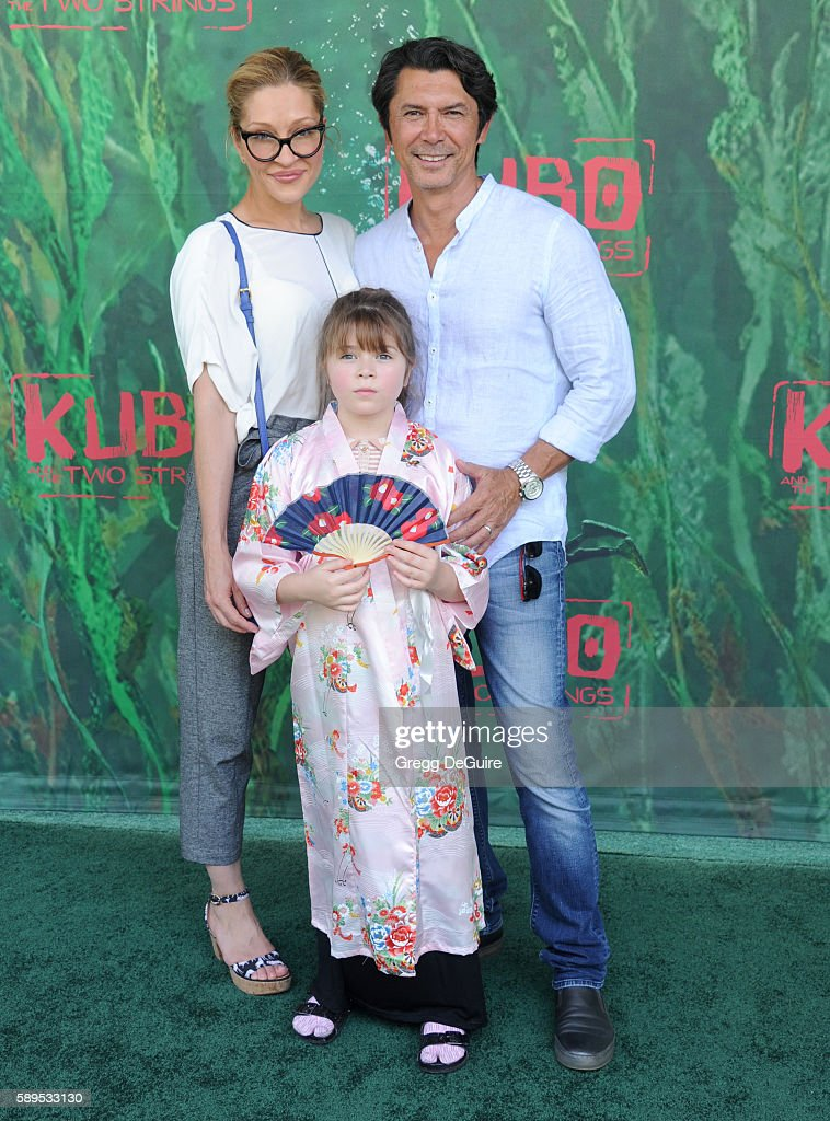 Actor Lou Diamond Phillips, wife Yvonne Boismier Phillips and daughter Indigo Sanara Phillips arrive at the premiere of Focus Features' 'Kubo And The Two Strings' at AMC Universal City Walk on August 14, 2016 in Universal City, California.