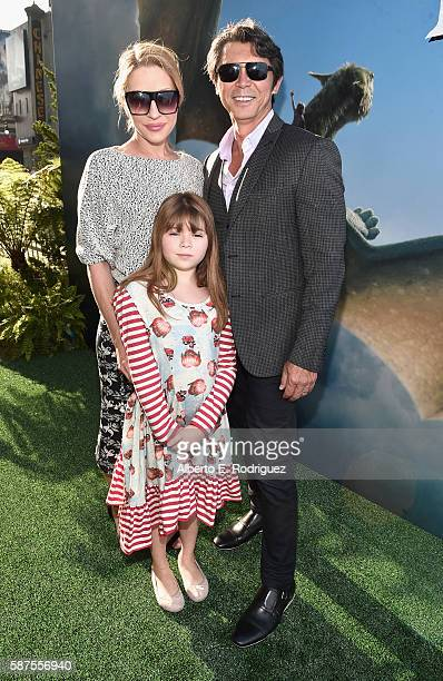 Actor Lou Diamond Phillips with Yvonne Boismier Phillips and Indigo Sanara Phillips arrive at the world premiere of Disney's 'PETE'S DRAGON' at the...