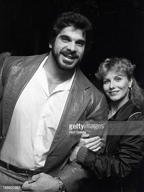 Actor Lou Ferrigno and wife Carla Green attending Opening of Bono Restaurant on February 2 1983 in West Hollywood California