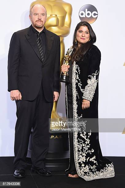 Actor Louis CK and filmmaker Sharmeen ObaidChinoy winner of the Best Documentary Short Subject award for 'A Girl in the River The Price of...